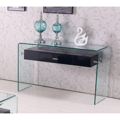 Glass Top Console Table Finish: Black