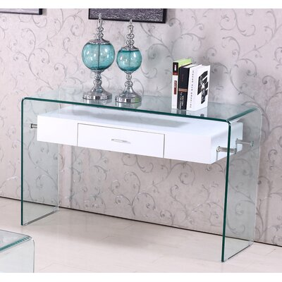 Glass Top Console Table Finish: White