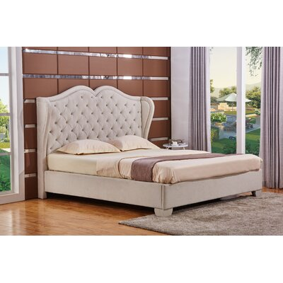 Upholstered Panel Bed Size: Queen, Color: White