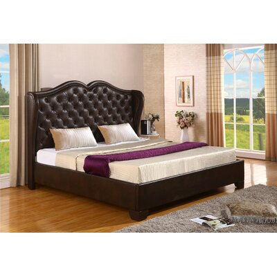 Upholstered Panel Bed Size: King, Color: Saddle Brown