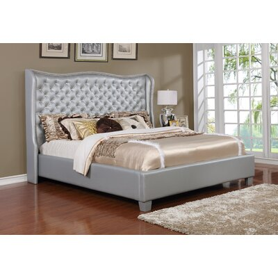 Upholstered Panel Bed Color: Silver/Gray, Size: California King