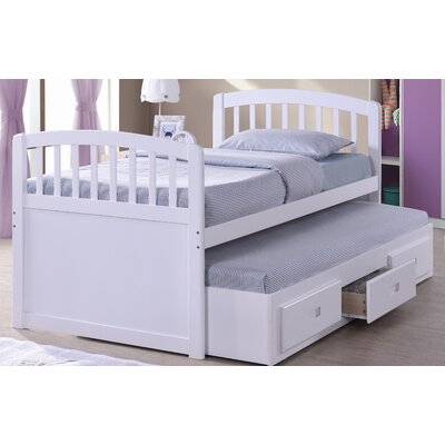 Twin Captain Bed with Trundle Bed Color: White