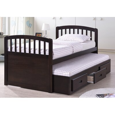 Twin Captain Bed with Trundle Bed Color: Cappuccino