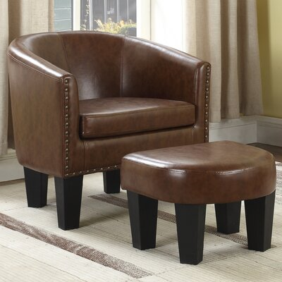 Mohamud Barrel Chair and Ottoman Upholstery: Brown