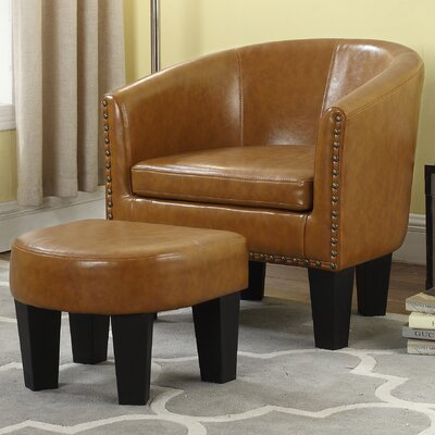 Mohamud Barrel Chair and Ottoman Upholstery: Caramel