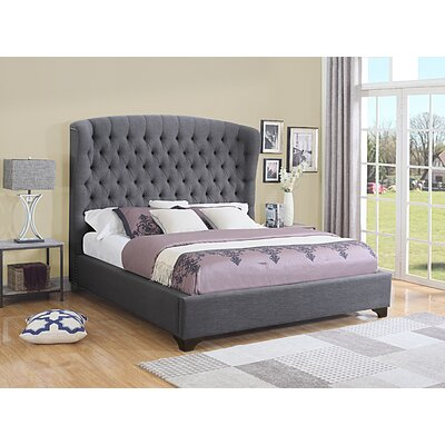 Celestine Upholstered Panel Bed Size: California King, Color: Dark Gray
