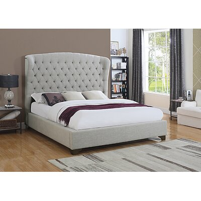 Celestine Upholstered Panel Bed Size: California King, Color: Beige