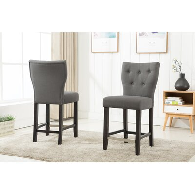 Fontane Counter Height Upholstered Dining Chair Upholstery Color: Gray