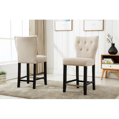 Fontane Counter Height Upholstered Dining Chair Upholstery Color: Beige
