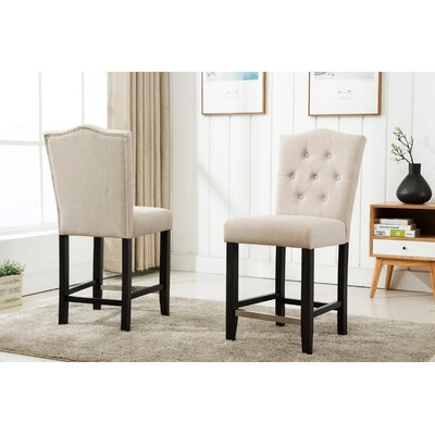 Fontanne Counter Height Upholstered Dinning Chair Upholstery Color: Beige