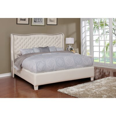 Upholstered Panel Bed Size: Eastern King, Color: White
