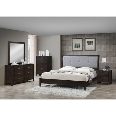 Vanalstyne Panel 5 Piece Bedroom Set Bed Size: King, Color: Cappuccino/Dark Gray