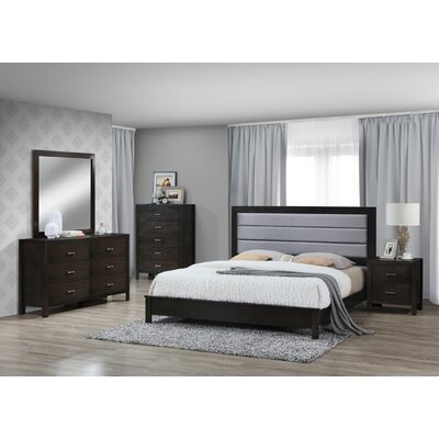Vanderhoff Panel 5 Piece Bedroom Set Bed Size: King, Color: Cappuccino/Dark Gray