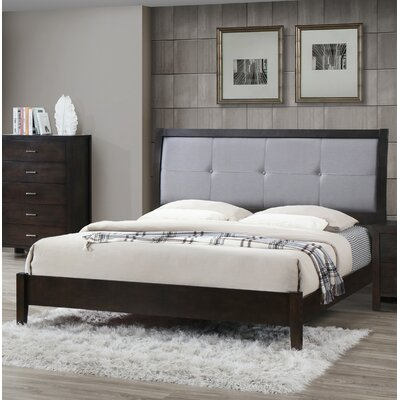 Upholstered Panel Bed Size: Queen, Color: Cappuccino/Dark Gray