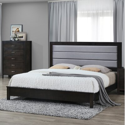 Upholstered Panel Bed Size: King, Color: Cappuccino/Dark Gray