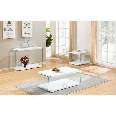Grossi 3 Piece Coffee Table Set Color: White
