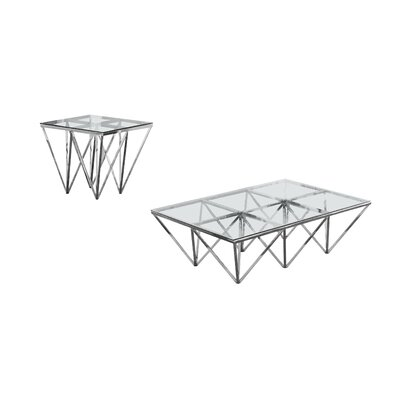 Krohn 2 Piece Coffee Table Set Color: Silver