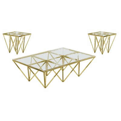 Kroll 3 Piece Coffee Table Set Color: Gold
