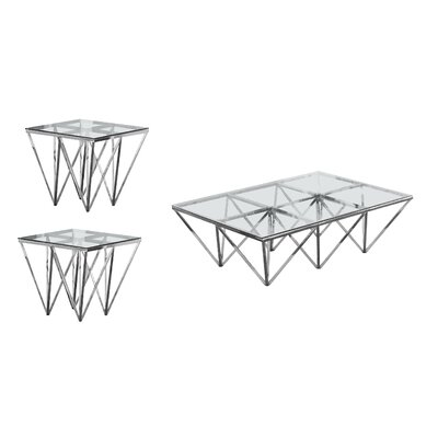 Kroll 3 Piece Coffee Table Set Color: Silver