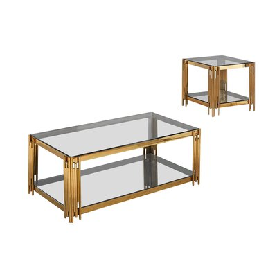 Hardman 2 Piece Coffee Table Set Color: Gold