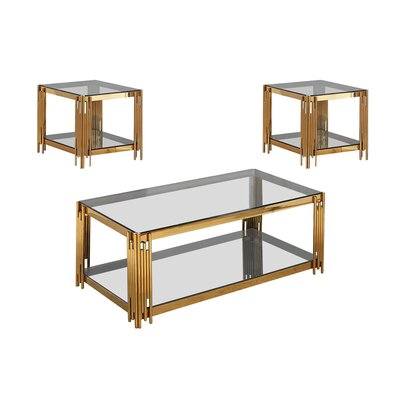 Hardnett 3 Piece Coffee Table Set Color: Gold