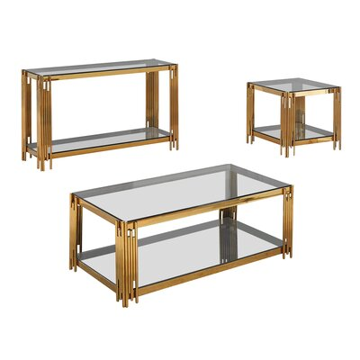 Hardrick 3 Piece Coffee Table Set Color: Gold