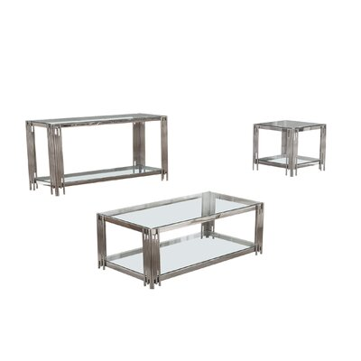 Hardrick 3 Piece Coffee Table Set Color: Silver