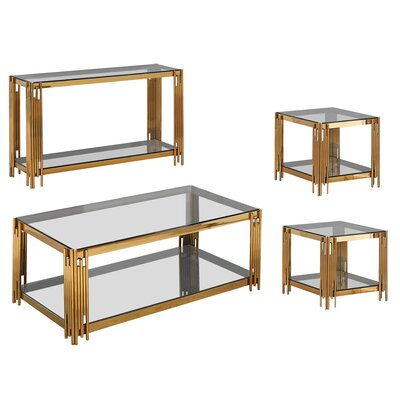 Hardt 4 Piece Coffee Table Set Color: Gold