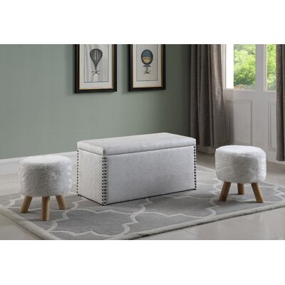 Mccleery Storage Ottoman Upholstery: White