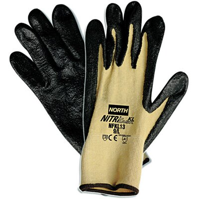 North Safety 10 Nitri Task KL Black Nitrile Palm Coated Glove With Para-aramid synthetic fiber Stretch Liner