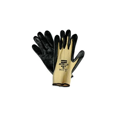 North Safety 11 Nitri Task KL Black Nitrile Palm Coated Glove With Para-aramid synthetic fiber Stretch Liner