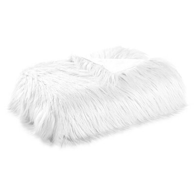 Harris Mongolian Solid Faux Fur Blanket Color: White