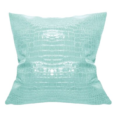 Racquel Faux Crocodile Throw pillow Color: Aqua