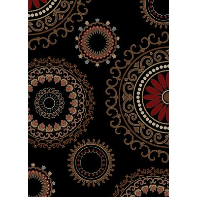 Calliope Kaleidoscope Ebony Black Area Rug Rug Size: Rectangle 710 x 910