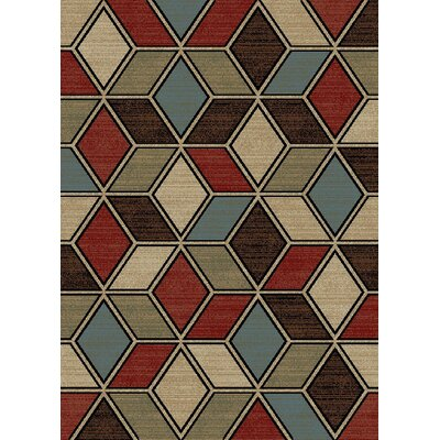 Vasser Cube Ivory/Brown Area Rug Rug Size: Rectangle 710 x 910