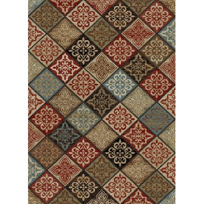 Henrietta Mosaic Red/Brown Area Rug Rug Size: Rectangle 53 x 73