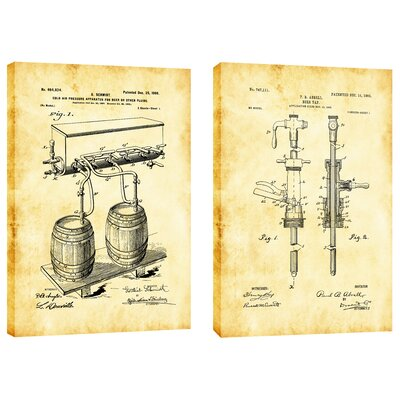 For the Love of Beer Diptych Vintage Patent Blueprint 2 Piece Graphic Art on Wrapped Canvas Set Size: 18