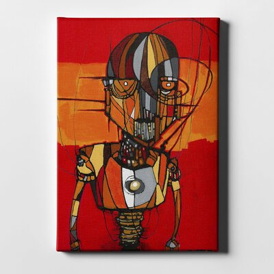 'Segmented Man Orange' Giclee Acrylic Painting Print on Canvas Size: 18