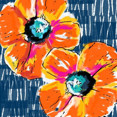 'Orange Poppies on Blue' Acrylic Painting Print on Wrapped Canvas Size: 12