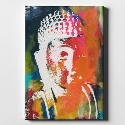'Painted Buddha V' Acrylic Painting Print on Wrapped Canvas Size: 26