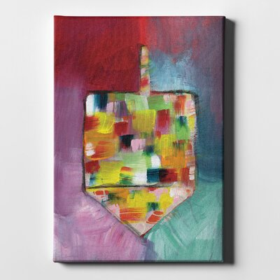 'Dreidel of Many Colors' Acrylic Painting Print on Wrapped Canvas Size: 26