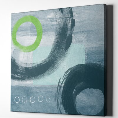 'Blue Circles I' Acrylic Painting Print on Wrapped Canvas Size: 18