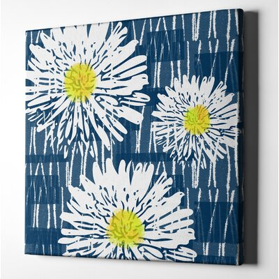 'White Flowers on Blue' Acrylic Painting Print on Wrapped Canvas Size: 12