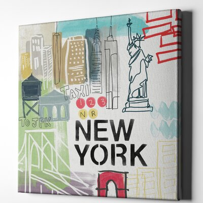 'New York' Textual Art on Wrapped Canvas Size: 12