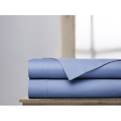 600 Thread Count 100% Cotton Sheet Set Color: Coastal Blue, Size: Queen