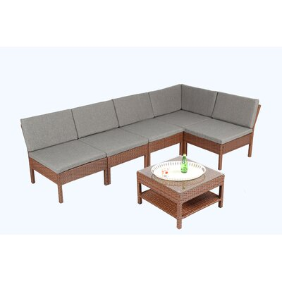 Spiaggia 6 Piece Sectional Seating Group With Cushion Finish: Brown