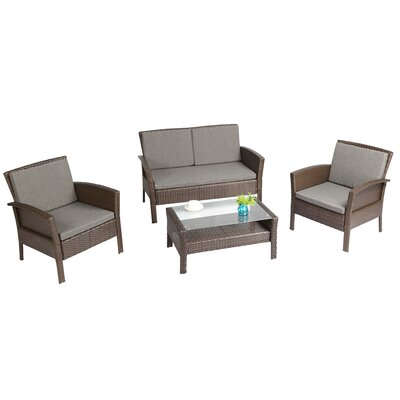 Spiaggia 4 Piece Lounge Seating Group with Cushion Finish: Brown