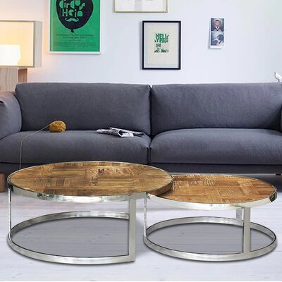 Eclisse Reclaimed Elm Wood Nesting Coffee Tables