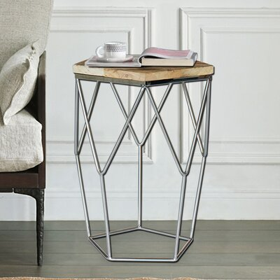 Pentagono Lato Reclaimed Elm Wood End Table