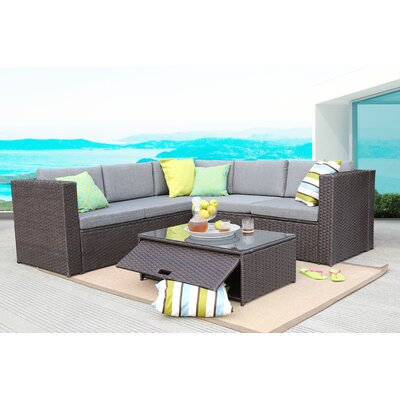 4 Piece Deep Seating Group Frame Finish: Chocolate